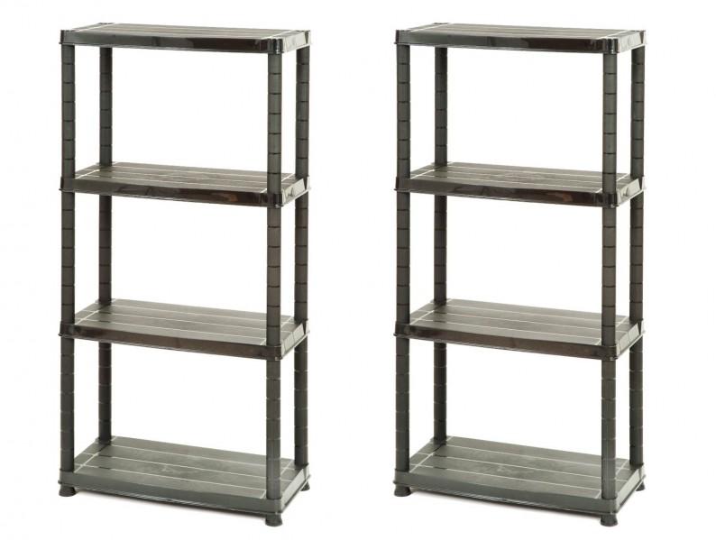 2 x haushaltsregal kunststoffregal steckregal kellerregal campingregal regal ebay. Black Bedroom Furniture Sets. Home Design Ideas