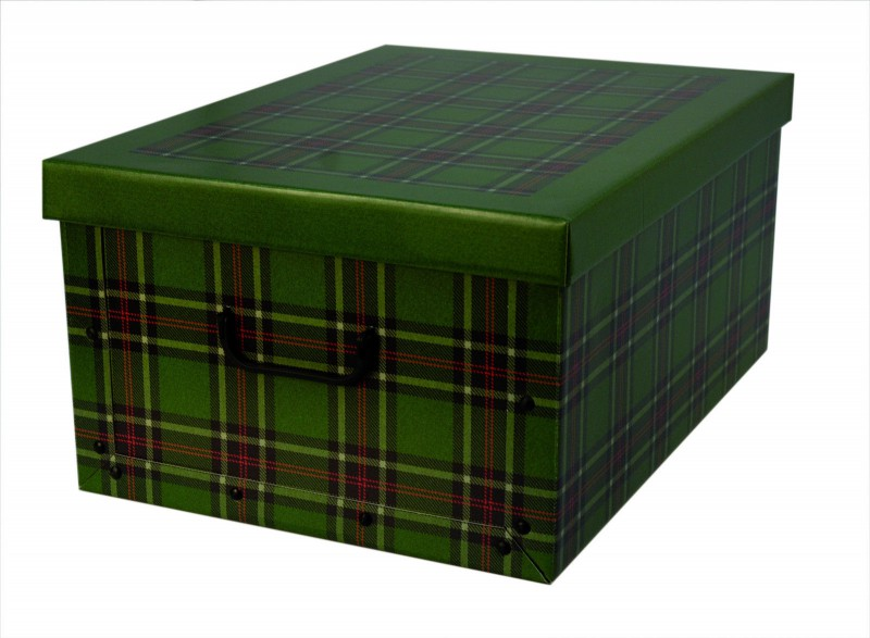 xxl deko karton geschenkkarton karton box schachtel geschenkpapier kariert gr n ebay. Black Bedroom Furniture Sets. Home Design Ideas